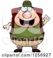 Clipart Of A Chubby Caucasian Hiker Man With Camping Gear And An Idea Royalty Free Vector Illustration