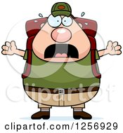 Clipart Of A Scared Screaming Chubby Caucasian Hiker Man With Camping Gear Royalty Free Vector Illustration