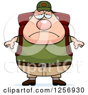 Clipart Of A Sad Depressed Chubby Caucasian Hiker Man With Camping Gear Royalty Free Vector Illustration