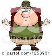 Clipart Of A Careless Shrugging Chubby Caucasian Hiker Man With Camping Gear Royalty Free Vector Illustration