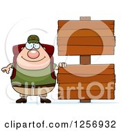Clipart Of A Chubby Caucasian Hiker Man With Camping Gear By Wood Signs Royalty Free Vector Illustration