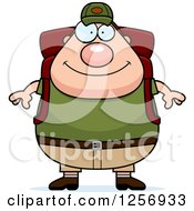 Clipart Of A Chubby Caucasian Hiker Man With Camping Gear Royalty Free Vector Illustration