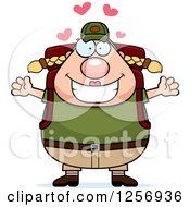 Clipart Of A Loving Chubby Caucasian Hiker Woman With Camping Gear Royalty Free Vector Illustration