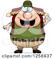 Clipart Of A Chubby Caucasian Hiker Woman With Camping Gear And An Idea Royalty Free Vector Illustration
