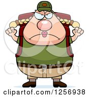 Clipart Of A Mad Chubby Caucasian Hiker Woman With Camping Gear And Waving Her Fists Royalty Free Vector Illustration