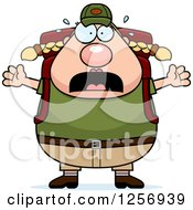 Clipart Of A Scared Screaming Chubby Caucasian Hiker Woman With Camping Gear Royalty Free Vector Illustration