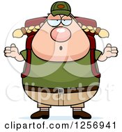 Clipart Of A Careless Shrugging Chubby Caucasian Hiker Woman With Camping Gear Royalty Free Vector Illustration