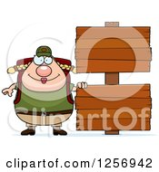 Clipart Of A Chubby Caucasian Hiker Woman With Camping Gear By Wood Signs Royalty Free Vector Illustration