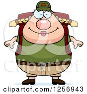 Clipart Of A Chubby Caucasian Hiker Woman With Camping Gear Royalty Free Vector Illustration