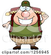 Clipart Of A Waving Friendly Chubby Caucasian Hiker Woman With Camping Gear Royalty Free Vector Illustration