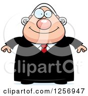 Clipart Of A Happy Chubby Caucasian Male Judge Royalty Free Vector Illustration by Cory Thoman