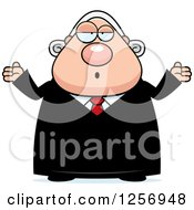 Clipart Of A Careless Shrugging Chubby Caucasian Male Judge Royalty Free Vector Illustration by Cory Thoman