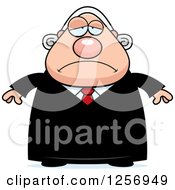 Clipart Of A Sad Depressed Chubby Caucasian Male Judge Royalty Free Vector Illustration by Cory Thoman
