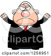 Clipart Of A Mad Chubby Caucasian Male Judge Waving His Fists Royalty Free Vector Illustration by Cory Thoman