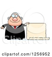 Clipart Of A Chubby Caucasian Male Judge With A Scroll Sign Royalty Free Vector Illustration by Cory Thoman