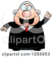 Clipart Of A Chubby Caucasian Male Judge With An Idea Royalty Free Vector Illustration by Cory Thoman
