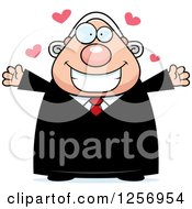 Clipart Of A Loving Chubby Caucasian Male Judge Wanting A Hug Royalty Free Vector Illustration by Cory Thoman
