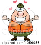 Clipart Of A Loving Chubby Caucasian Male Hunter Wanting A Hug Royalty Free Vector Illustration by Cory Thoman