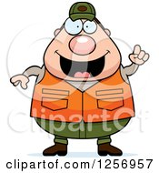 Clipart Of A Chubby Caucasian Male Hunter With An Idea Royalty Free Vector Illustration by Cory Thoman