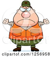 Clipart Of A Mad Chubby Caucasian Male Hunter Waving Fists Royalty Free Vector Illustration by Cory Thoman