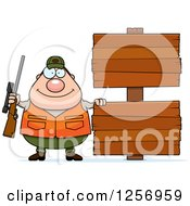 Clipart Of A Chubby Caucasian Male Hunter With Wood Signs Royalty Free Vector Illustration