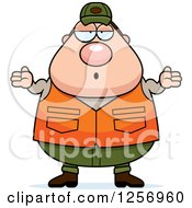 Clipart Of A Careless Shrugging Chubby Caucasian Male Hunter Royalty Free Vector Illustration