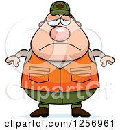 Clipart Of A Sad Depressed Chubby Caucasian Male Hunter Royalty Free Vector Illustration by Cory Thoman