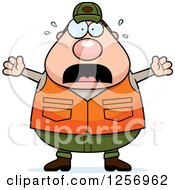 Clipart Of A Scared Screaming Chubby Caucasian Male Hunter Royalty Free Vector Illustration by Cory Thoman