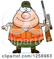 Clipart Of A Chubby Caucasian Male Hunter Holding A Rifle Royalty Free Vector Illustration