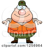 Clipart Of A Chubby Caucasian Male Hunter Royalty Free Vector Illustration