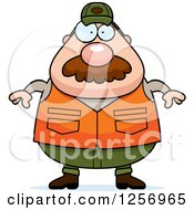 Clipart Of A Chubby Caucasian Male Hunter With A Mustache Royalty Free Vector Illustration by Cory Thoman