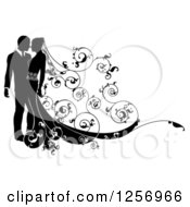 Clipart Of A Black And White Silhouetted Wedding Couple With A Swirl Floral Train Royalty Free Vector Illustration