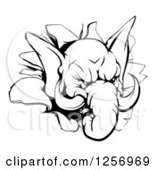 Clipart Of A Black And White Aggressive Elephant Breaking Through A Wall Royalty Free Vector Illustration