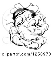 Clipart Of Black And White Monster Claw Breaking Through A Wall Royalty Free Vector Illustration by AtStockIllustration