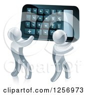 Clipart Of Two 3d Silver Men Carrying A Calculator Royalty Free Vector Illustration