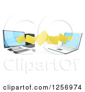 Clipart Of A 3d Desktop And Laptop Computer Transfering Files For Backups Royalty Free Vector Illustration