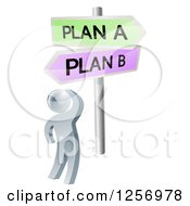 Clipart Of A 3d Silver Man At Plan A Or B Crossroad Signs Royalty Free Vector Illustration