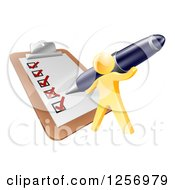 Clipart Of A 3d Gold Man Using A Pen To Check Off A List Royalty Free Vector Illustration by AtStockIllustration