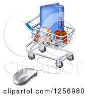 Clipart Of A 3d Computer Mouse Connected To A Shopping Cart Full Of Luggage And Travel Items Royalty Free Vector Illustration by AtStockIllustration