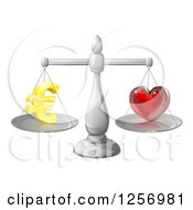 Clipart Of 3d Silver Scales Balancing Euros And Love Royalty Free Vector Illustration by AtStockIllustration