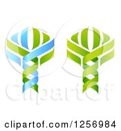 Clipart Of Green And Blue Dna Double Helix Tree Designs Royalty Free Vector Illustration by AtStockIllustration