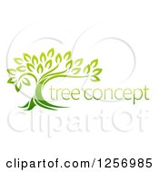Clipart Of A Green Tree And Concept Text Royalty Free Vector Illustration