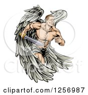 Clipart Of A Muscular Warrior Angel Running With A Sword Royalty Free Vector Illustration by AtStockIllustration