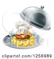 Clipart Of A Happy Cheeseburger Chef Holding Two Thumbs Up On French Fries In A Platter Royalty Free Vector Illustration