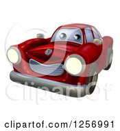 Clipart Of A Cartoon Happy Red Vintage Convertible Car Royalty Free Vector Illustration by AtStockIllustration