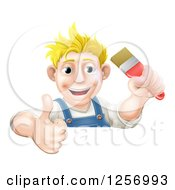 Clipart Of A Happy Blond Male Caucasian Painter Holding A Paintbrush And Thumb Up Over A Sign Royalty Free Vector Illustration by AtStockIllustration