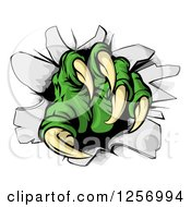 Clipart Of Green Monster Claw Breaking Through A Wall Royalty Free Vector Illustration by AtStockIllustration