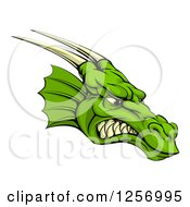 Clipart Of A Snarling Green Horned Dragon Face Royalty Free Vector Illustration by AtStockIllustration