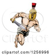 Clipart Of A Muscular Gladiator In A Helmet Running With A Sword Royalty Free Vector Illustration by AtStockIllustration