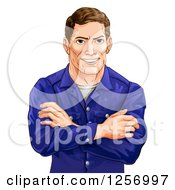 Clipart Of A Happy Caucasian Man With Folded Arms Royalty Free Vector Illustration by AtStockIllustration